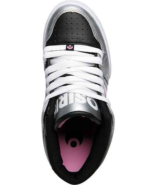 Osiris NYC 83 Mid Silver, Black & Pink Shoes