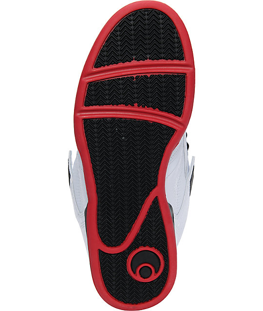 Osiris NYC 83 Mid White, Black & Red Skate Shoes