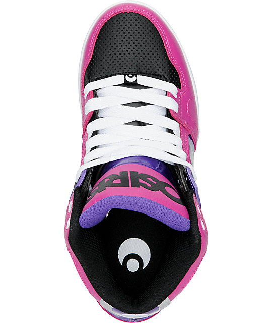 Osiris NYC 83 Slim Black, Fuchsia & Silver Shoes