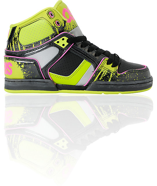 Osiris NYC 83 Slim Black, Lime & Drip Shoes