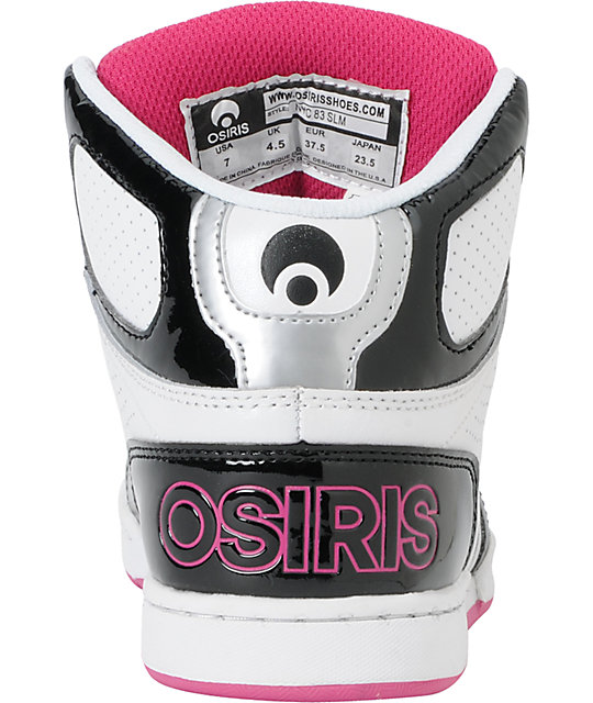 Osiris NYC 83 Slim Black, Silver, & Pink Shoes