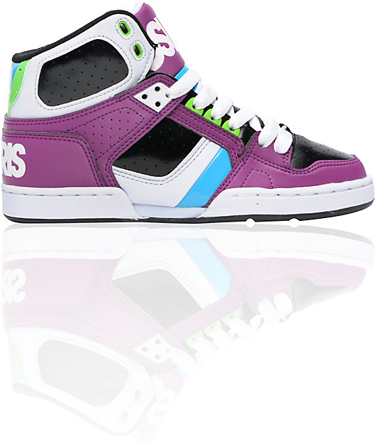 Osiris NYC 83 Slim Lavender, White, & Cyan Shoes