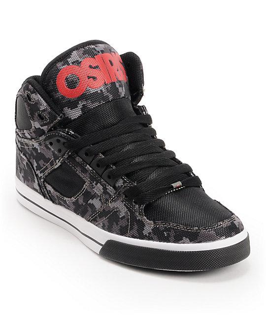 Osiris NYC 83 Vulc Black, Digital Camo, & Red Skate Shoes ...