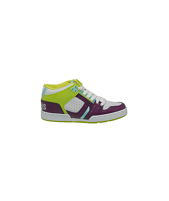 Osiris South Bronx White, Purple & Lime Shoes