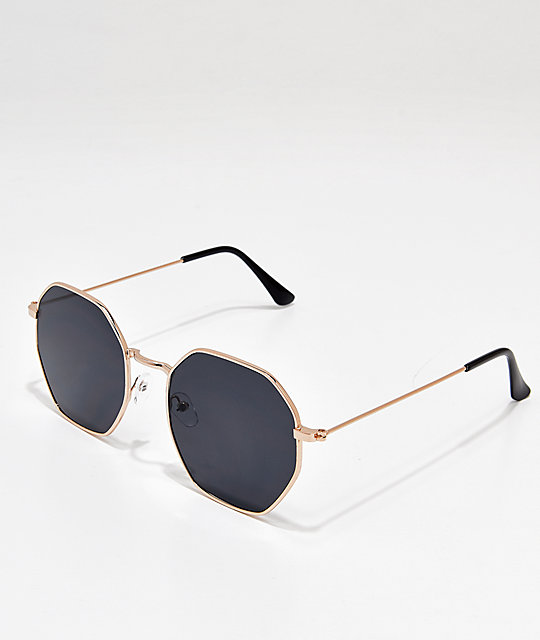 Oversized Octogon Black & Gold Sunglasses
