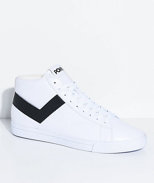 PONY Topstar Hi White \u0026 Black Shoes ...