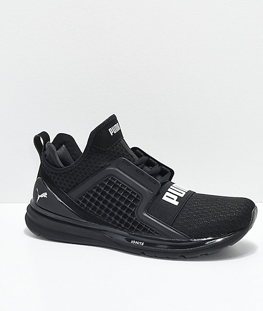 3731e044 PUMA Ignite Limitless All Black Knit Shoes