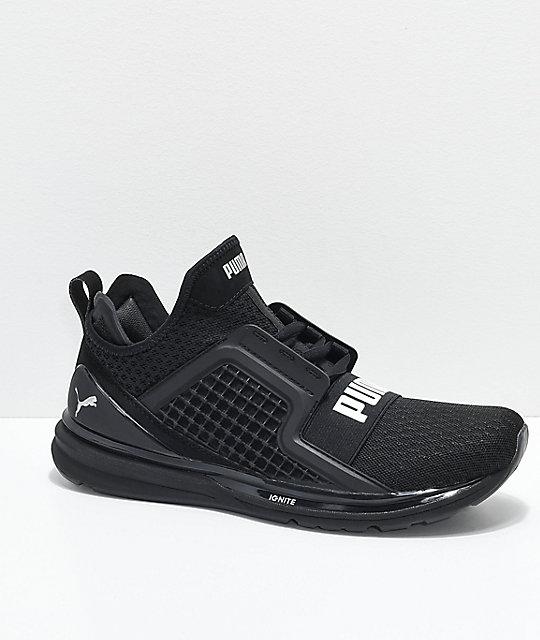 PUMA Ignite Limitless All Black Knit Shoes