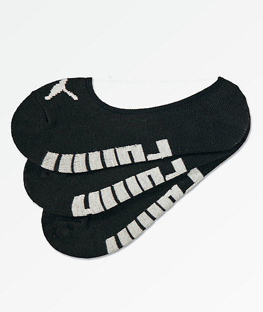 PUMA 3 Pack Black No Show Socks