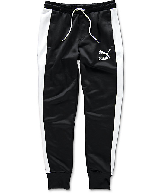 30bcf3cc74f3 PUMA Archive T7 Black Track Pants