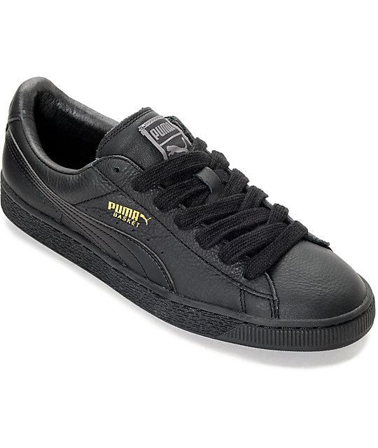 87e1fe632dc PUMA Basket Classic All Black Shoes