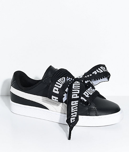 uk availability c2c14 3d971 PUMA Basket Heart DE Black & White Shoes