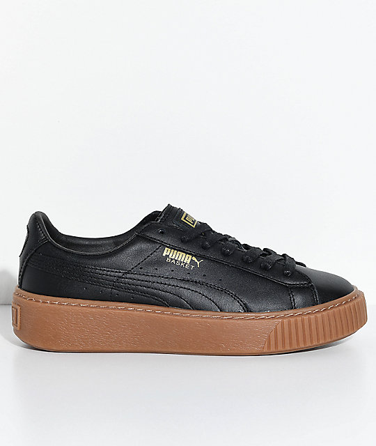 PUMA Basket Platform Black & Gum Shoes