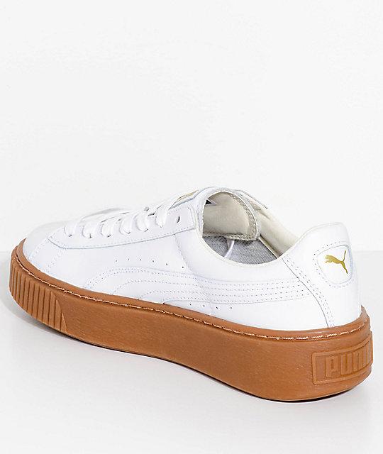 sports shoes aa73c a2742 PUMA Basket Platform Core White & Gum Shoes