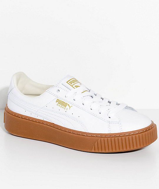 PUMA Basket Platform Core White & Gum Shoes