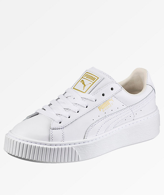 sale retailer f93f6 90a42 PUMA Basket Platform White Shoes
