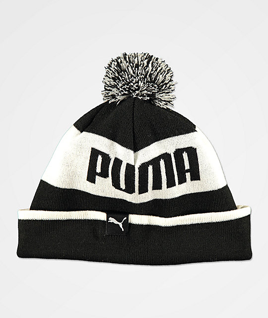 ... PUMA Block Black   White Pom Beanie 9b197415248