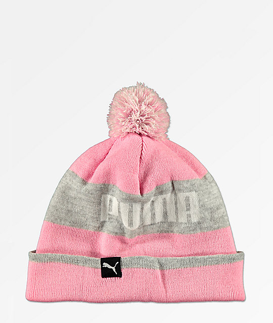 PUMA Block Pink   Grey Pom Beanie  2105999ca122