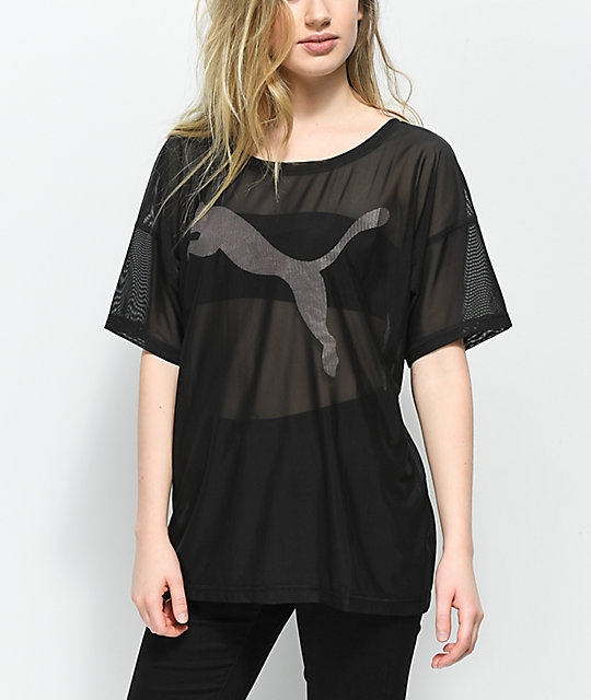 PUMA Dancer Drapey Black Mesh T-Shirt