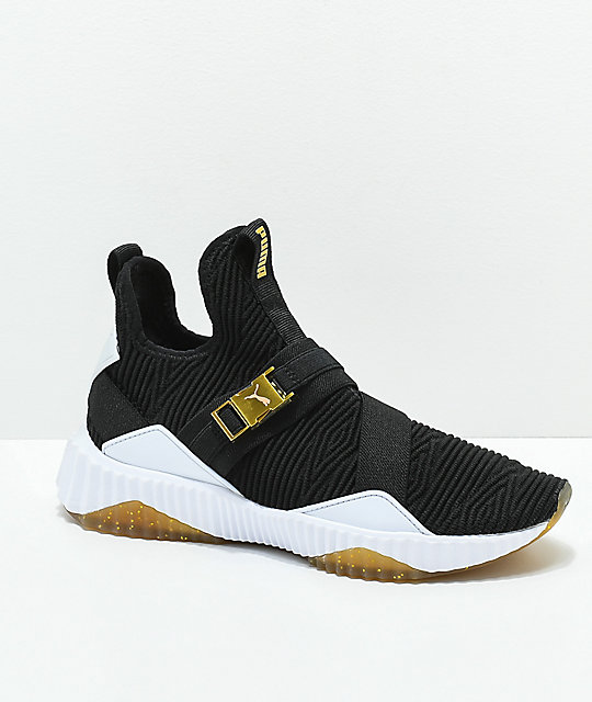 PUMA Defy Varsity Mid Black & Gold Shoes