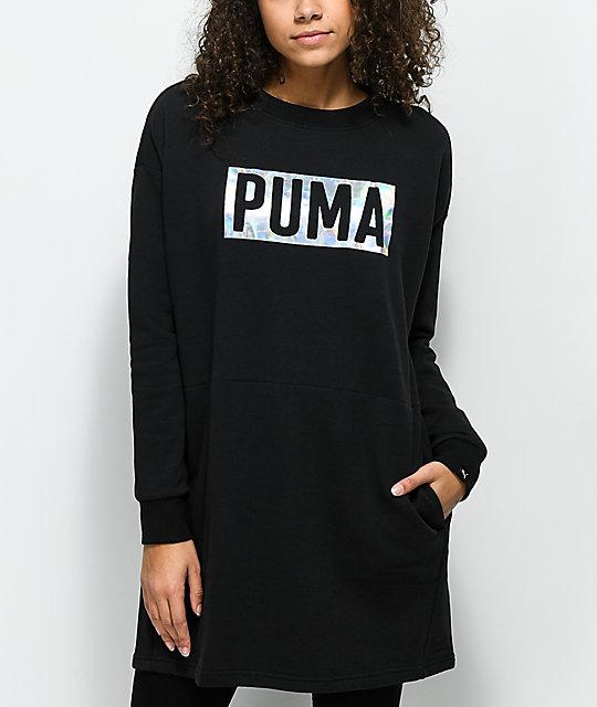 lika halpaa julkaisutiedot myymälä PUMA Fusion Black Foiled Crew Neck Sweatshirt