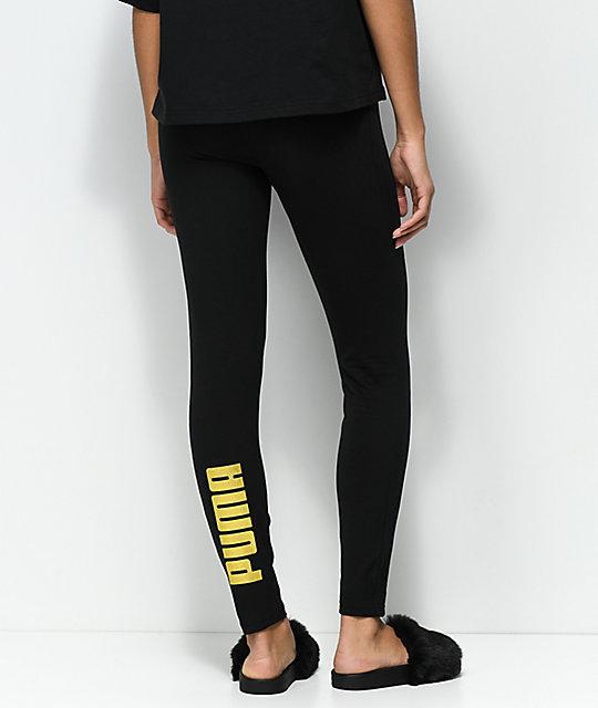 puma leggins schwarz gold