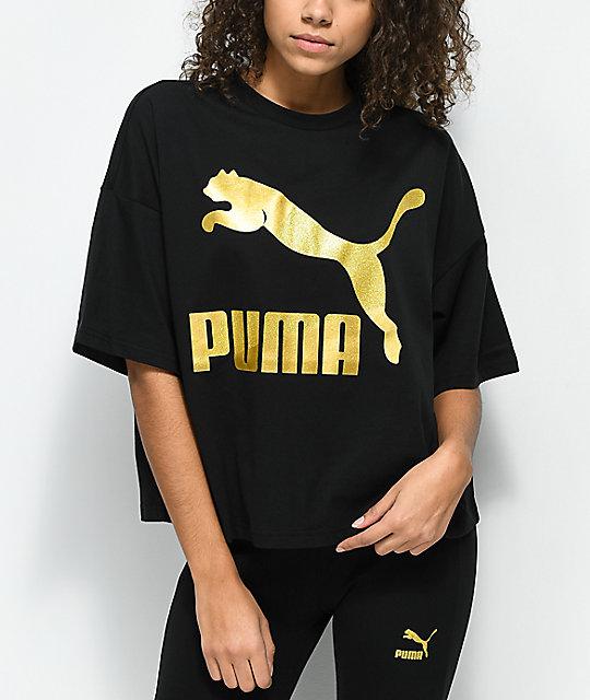 2c7a052ee47 PUMA Glam Oversized Black & Gold T-Shirt | Zumiez