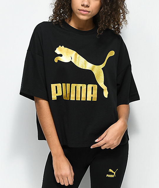 PUMA Glam Oversized Black & Gold  T-Shirt
