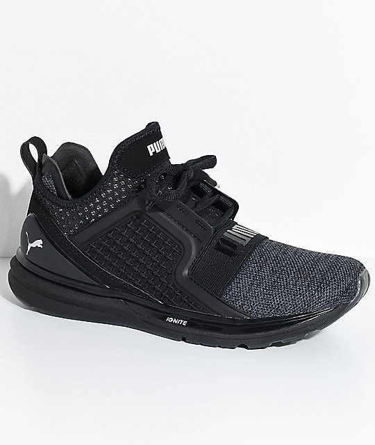 7d6e1888ab2 PUMA Ignite Limitless Knit Black   Silver Shoes