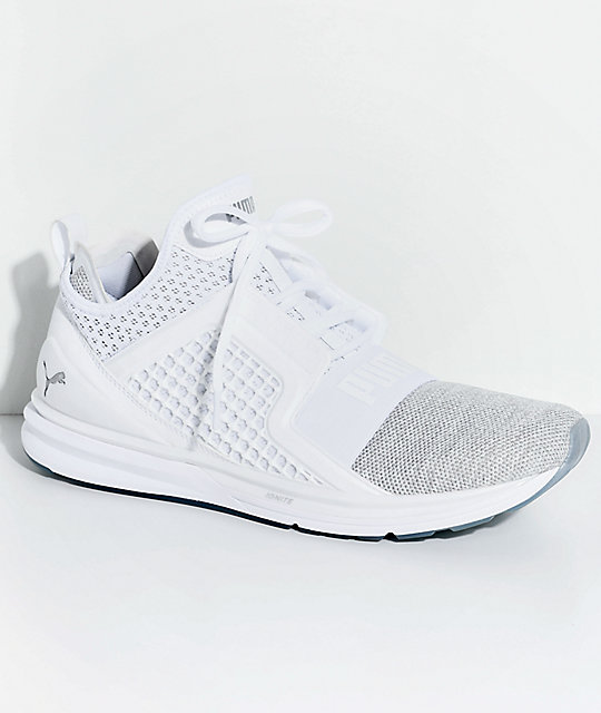 c36091d621c77d PUMA Ignite Limitless Knit White   Silver Shoes