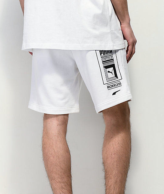 PUMA Logo Tower White Terry Shorts