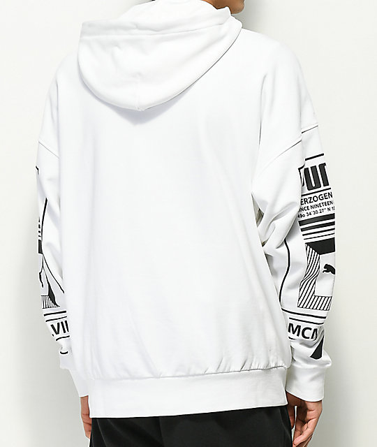 PUMA Logo Tower White Zip Up Hoodie