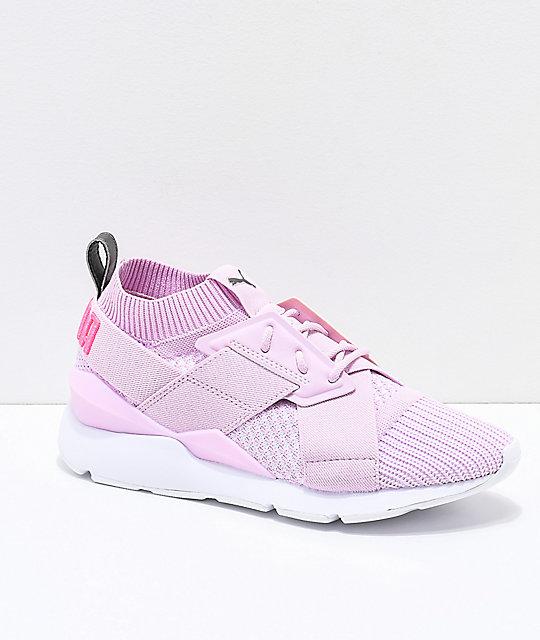 selezione premium f84dc db5f1 PUMA Muse Evoknit Winsome Orchid Pink & White Shoes