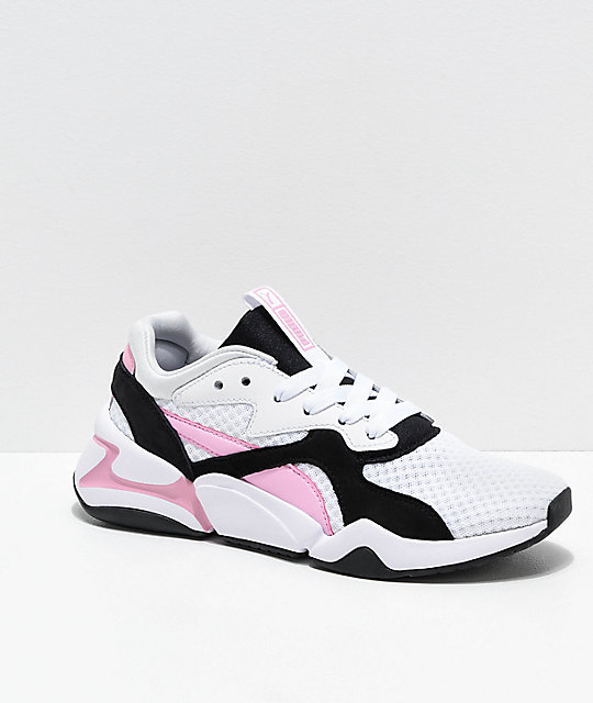 PUMA Nova 90s Bloc White, Pink & Black Shoes