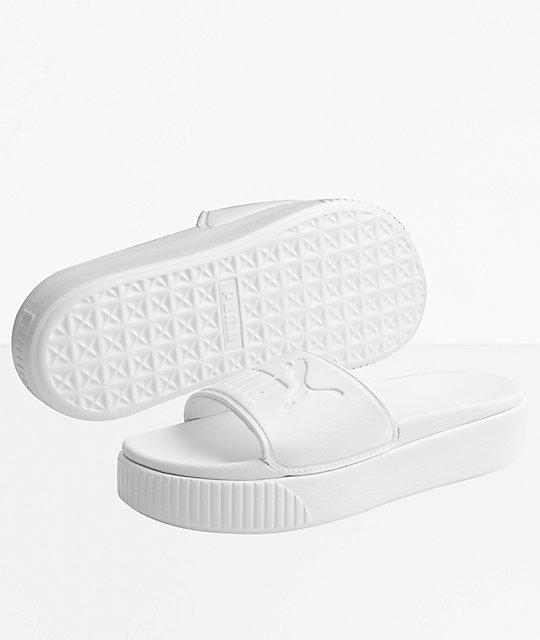 9d536ebf230 PUMA Platform Bold White Slide Sandals