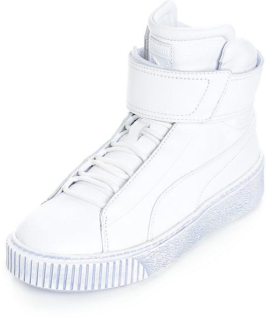 nouveau concept d5bec 5bb3f PUMA Platform Mid White Shoes (Womens)