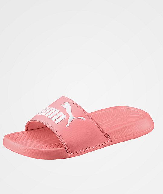 5981fbc42a0b3f PUMA Popcat Fluo Peach Slide Sandals