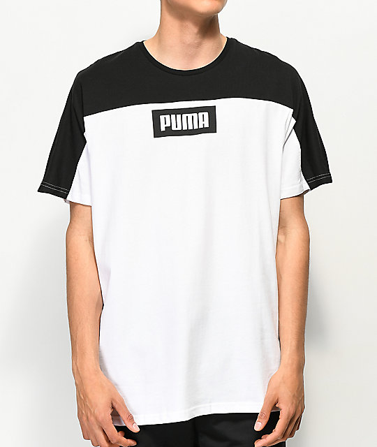 PUMA Rebel Block Black & White T-Shirt | Zumiez