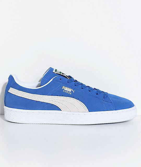 PUMA Suede Classic+ Olympian Blue   White Shoes  febbb328edb8
