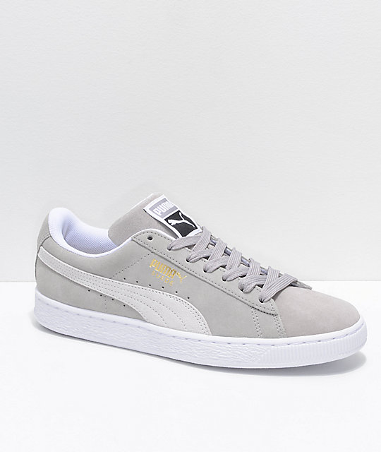 0d379eca653fb PUMA Suede Classic+ Ash & White Shoes