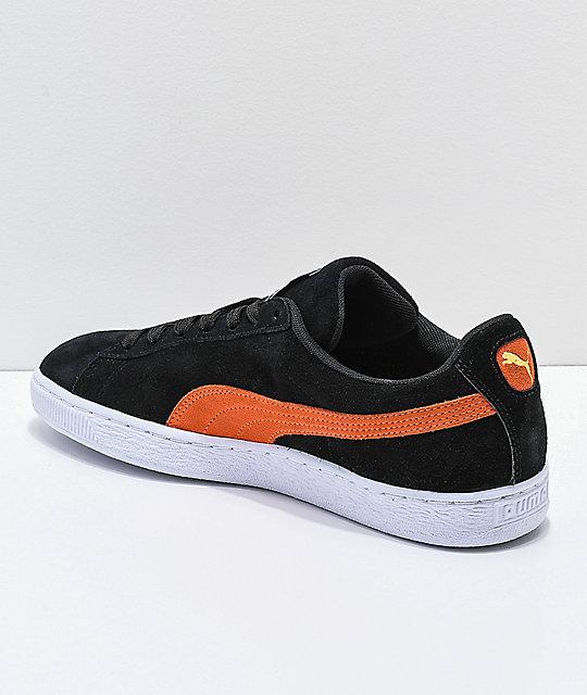 puma suede orange black