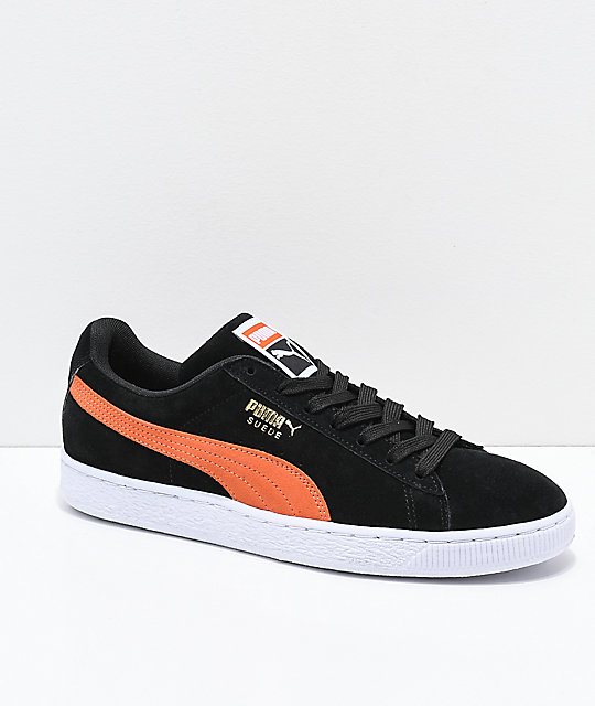 PUMA Suede Classic+ Black & Firecracker Orange Shoes