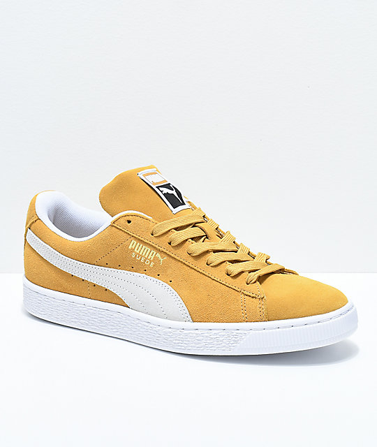 9142edcbd7f1 PUMA Suede Classic+ Honey Mustard   White Shoes