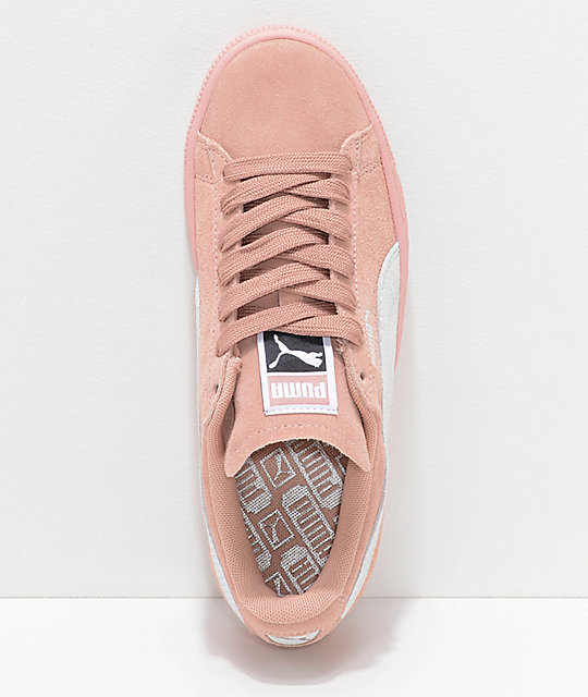 PUMA Suede Classic+ Peach Beige & White Shoes