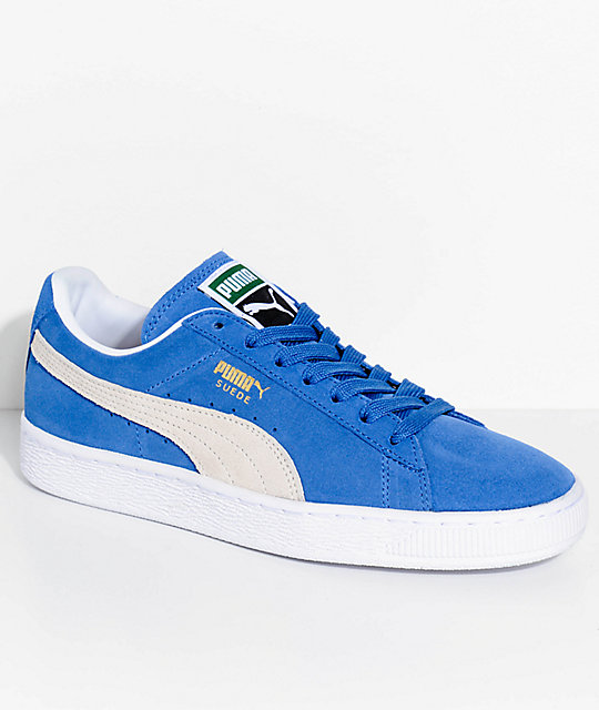 PUMA Suede Classic+ Olympian Blue & White Shoes ...