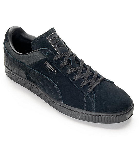 new products 63d81 75d9a PUMA Suede Classic Casual Emboss Black Shoes