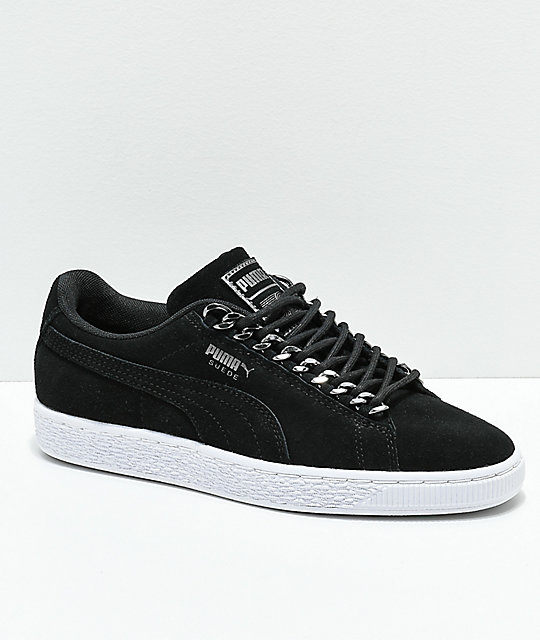 75f2dc06c0 PUMA Suede Classic Chains Black & White Shoes | Zumiez