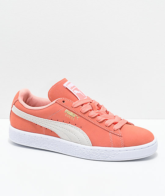 635cd73d211b PUMA Suede Classic Desert Flower   White Shoes