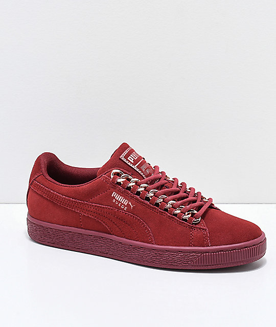 459b99920fc9 PUMA Suede Classic Pomegranate Red Chain Shoes