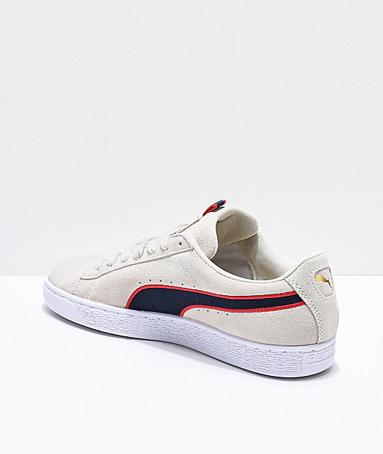 ... PUMA Suede Classic Sport Stripes White   Red Shoes ... 18cf1563f